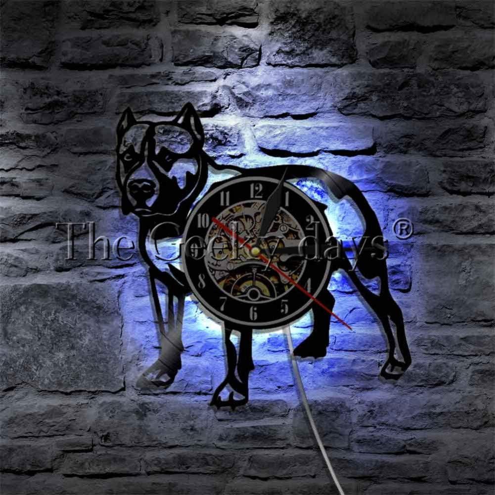 SSCLOCK 1 Pieza Perro Divertido Reloj de Vinilo Luminoso Reloj para Perros Luz de Fondo LED Idea de Regalo de Colores múltiples para Amantes de Perros Dueño de Mascota