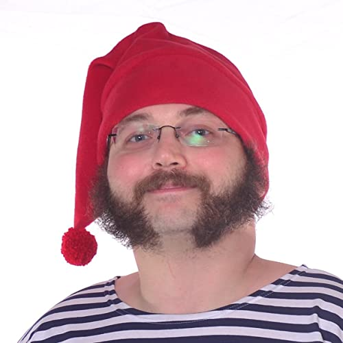 Adult Mr. Smee Handmade Red Fleece Pirate Stocking Cap with Large Red Pompom by Mountain Goth LLC