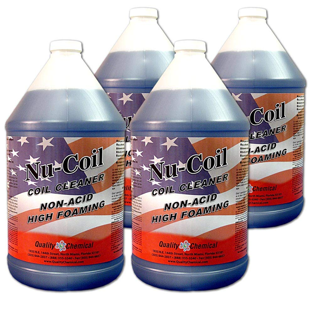 Nu-Coil Professional Grade Concentrated Air Conditioner Alkaline Condenser Coil Cleaner-4 gallon case by Quality Chemical