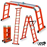 Super Ladder Aluminium Multipurpose Ladder 4 X 3 Step with GI Platform and Tool Tray, Recommended regular usage capacity 180 KG