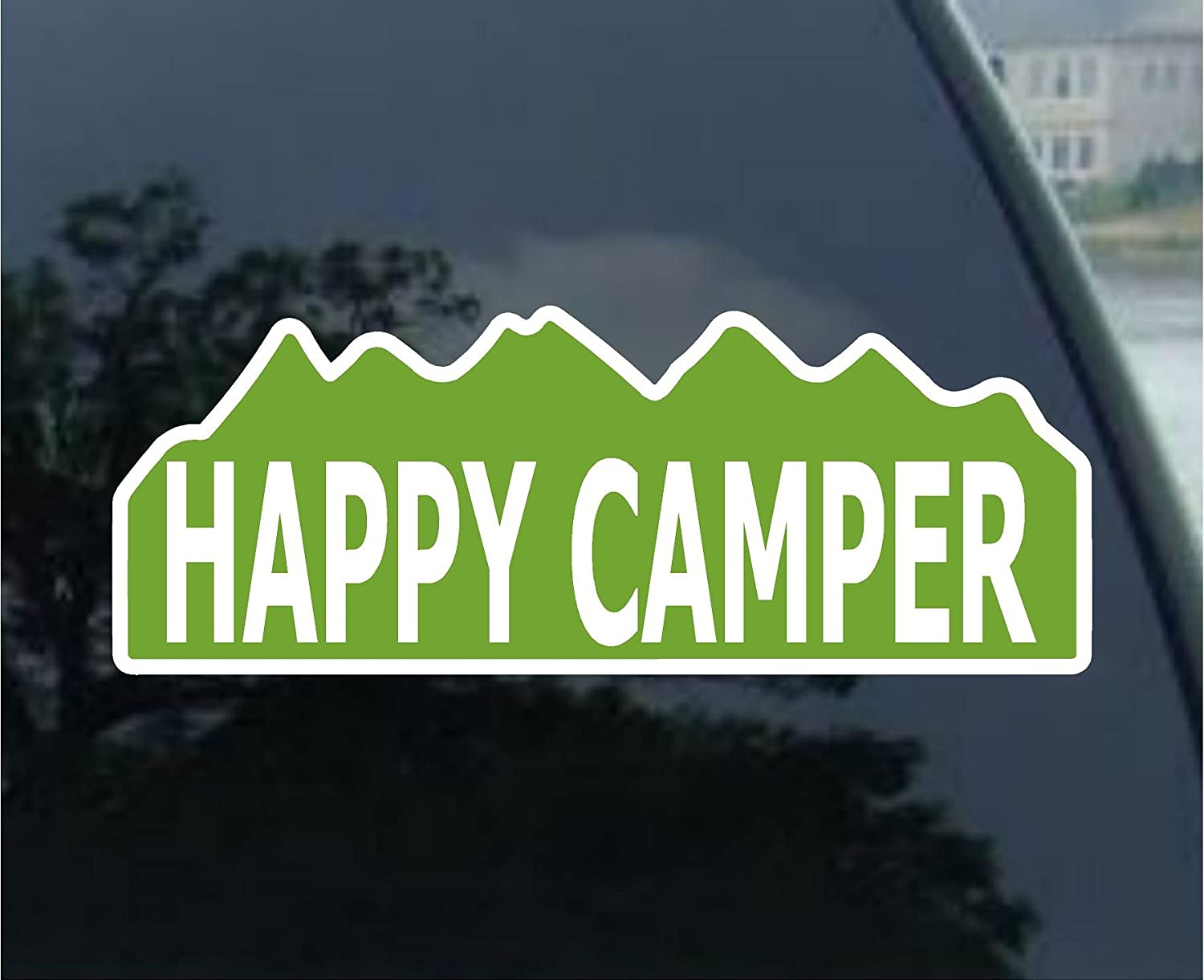 Amazon com happy camper funny camping bumper sticker 9 x 3 5 everything else