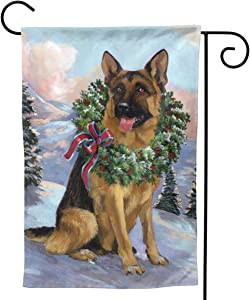 Only Pineapple Evergreen Wreath German Shepherd Christmas Seasonal Family Welcome Double Sided Garden Flag Outdoor Funny Decorative Flags for Garden Yard Lawn Decor Party Gift Many Sizes