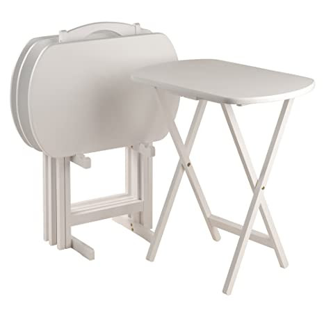 Merveilleux Winsome Corbett 5 Piece Oblong Portable Snack Tray Table, White