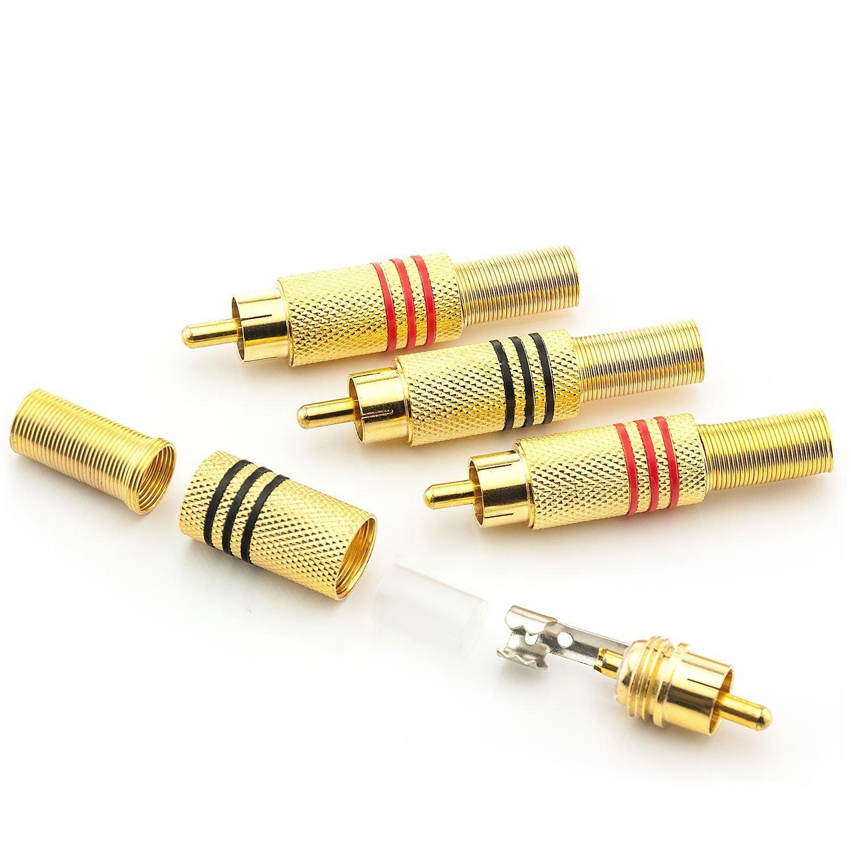 3 pi/èce Rouge /également vissable 3 pi/èce Noir Saxonia 6x Cinch//RCA M/âle droit Connecteur RCA Connecteur audio RCA Extension de fiche RCA de haute qualit/é pour le soudures contacts plaqu/és or