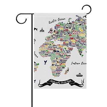 5122855d0af0 Amazon.com   Vintage World Map Garden Yard Flag Banner for Outside House  Flower Pot Double Side Print 28x40IN   Garden   Outdoor