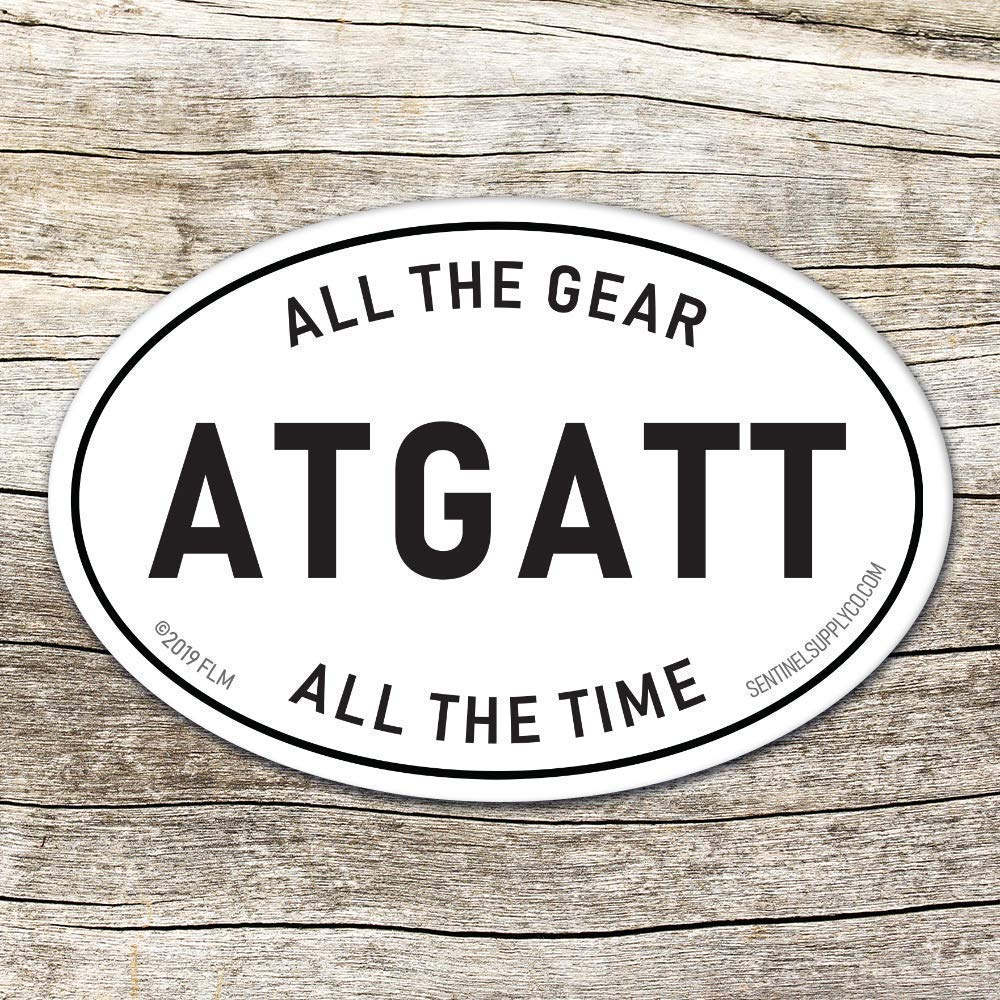 All the Gear All the Time ATGATT Oval Sticker for Helmet, Laptop, Hydroflask - Vinyl Decal for ADV Motorcycle, BMW Riders & Overlanders