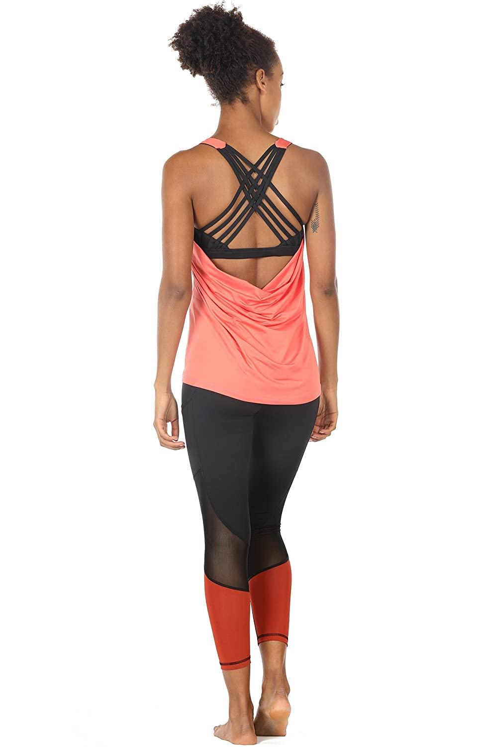 5fed34aeafadf icyzone Yoga Tops Workouts Clothes Activewear Built in Bra Tank Tops for  Women icyzone sports