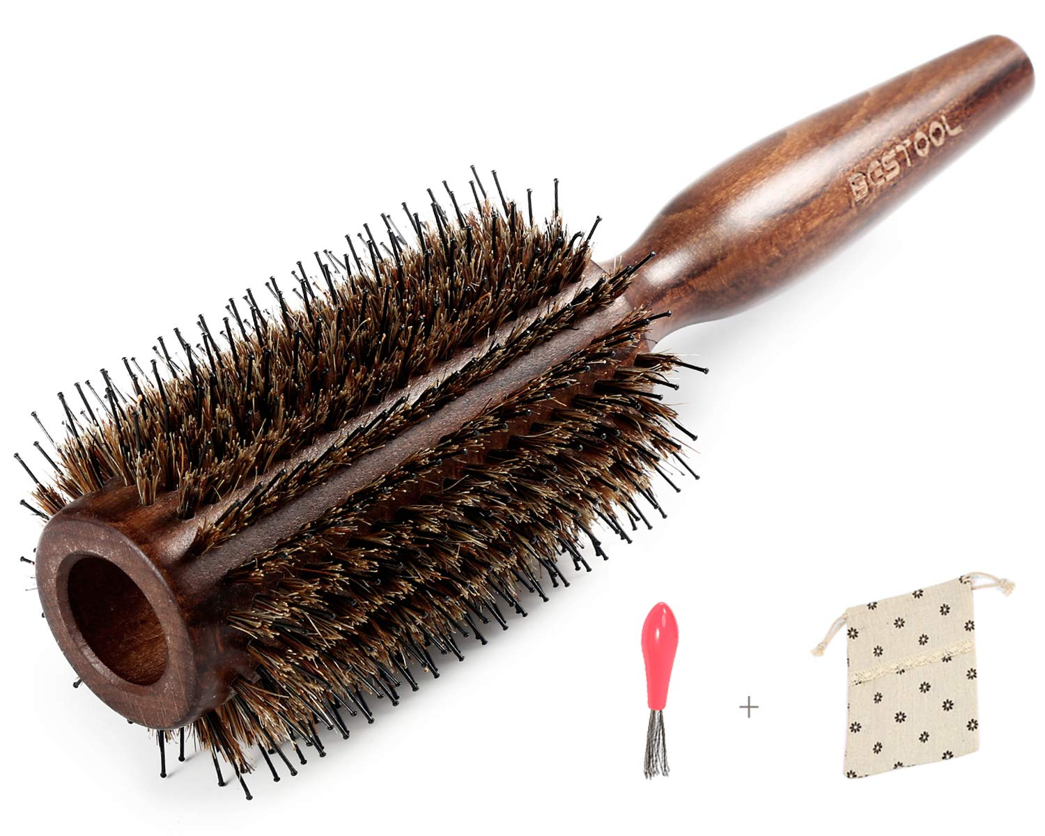 BESTOOL Boar Bristle Round Hair Brush with Nylon Pin Wooden Detangling Large Round Brush for For Men, Women, Kid Blow Drying, Dry, Wet, Thick and Curly Hair, Adding Volume and Shine (1.5 inch)