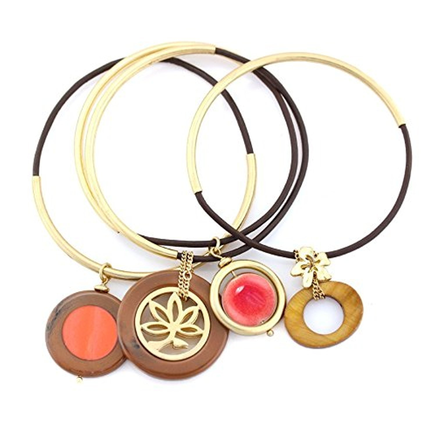 Gold-Tone Metal Filigree Coral And Brown Set Of 4 Charm Bracelets