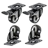 """bayite 4 Pack 2"""" Heavy Duty Caster Wheels Polyurethane PU Rubber Swivel Casters with 360 Degree Top Plate 220lb Total Capacity for Set of 4 (2 with Brakes& 2 without) Black"""