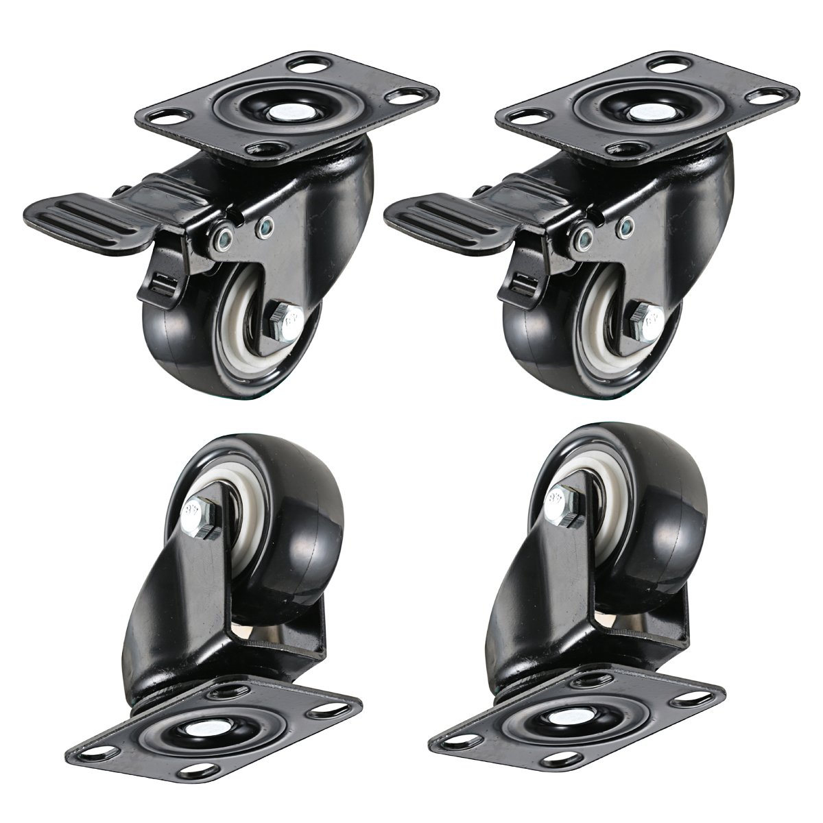 bayite 4 Pack 2'' Heavy Duty Caster Wheels Polyurethane PU Swivel Casters with 360 Degree Top Plate 220lb Total Capacity for Set of 4 (2 with Brakes& 2 without) Black