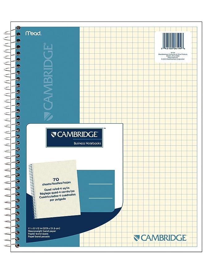 Amazon.com : Cambridge Quad Wirebound Notebook 70ct (06194) : Graph ...