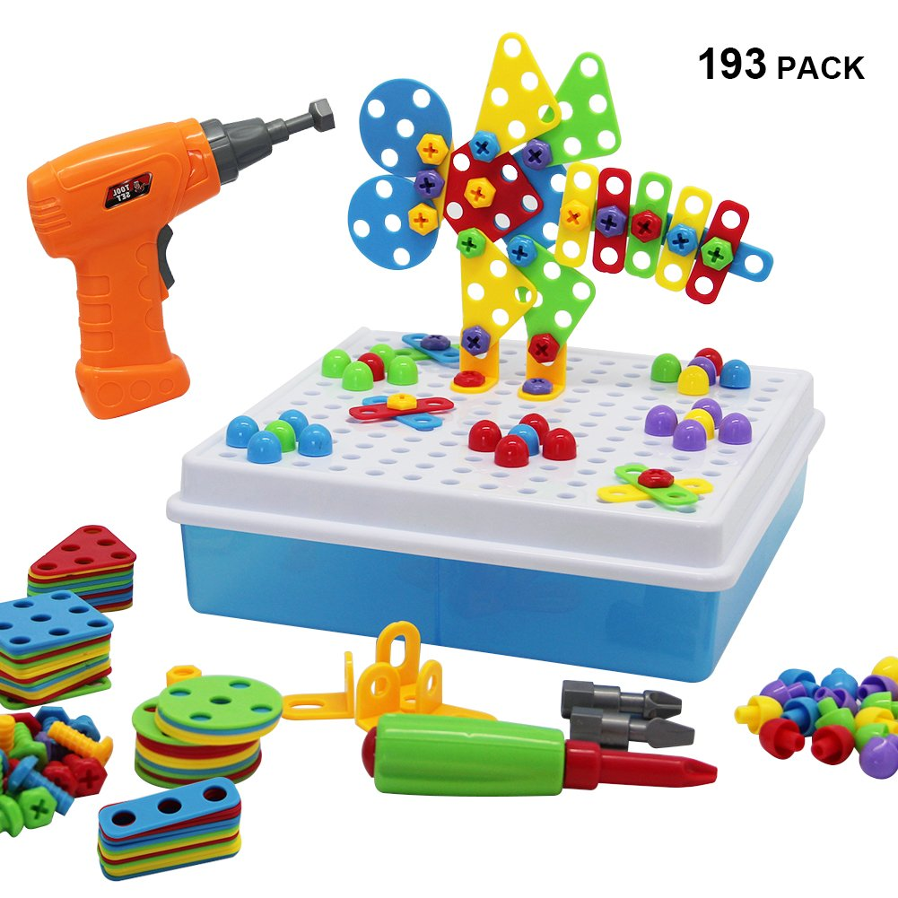 YOFIT Electric DIY Drill Toy Set STEM Toy Early Education Drill Game(193 Pack) by YOFIT