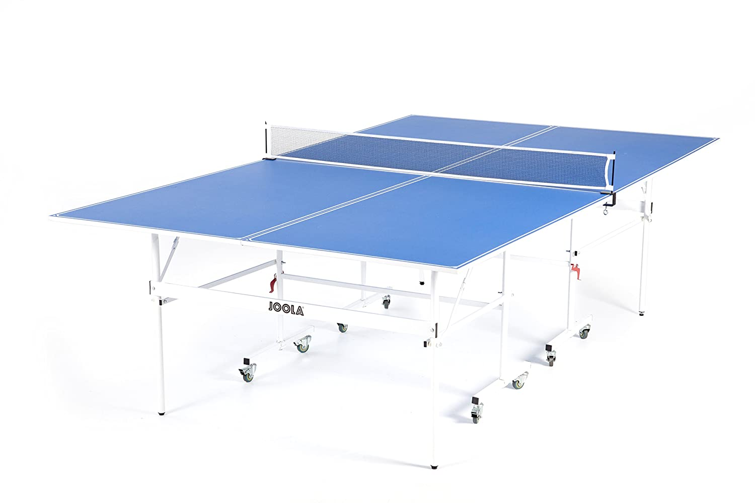 JOOLA Quadri   Indoor 15mm Ping Pong Table With Quick Clamp Ping Pong Net  Set   Single Player Playback Mode   Regulation Size Table Tennis Table    Compact ...