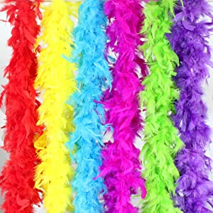 Coceca 6pcs 6.6ft Colorful Feather Boas for Women Girls Costume Dress Up Party Bulk Decoration