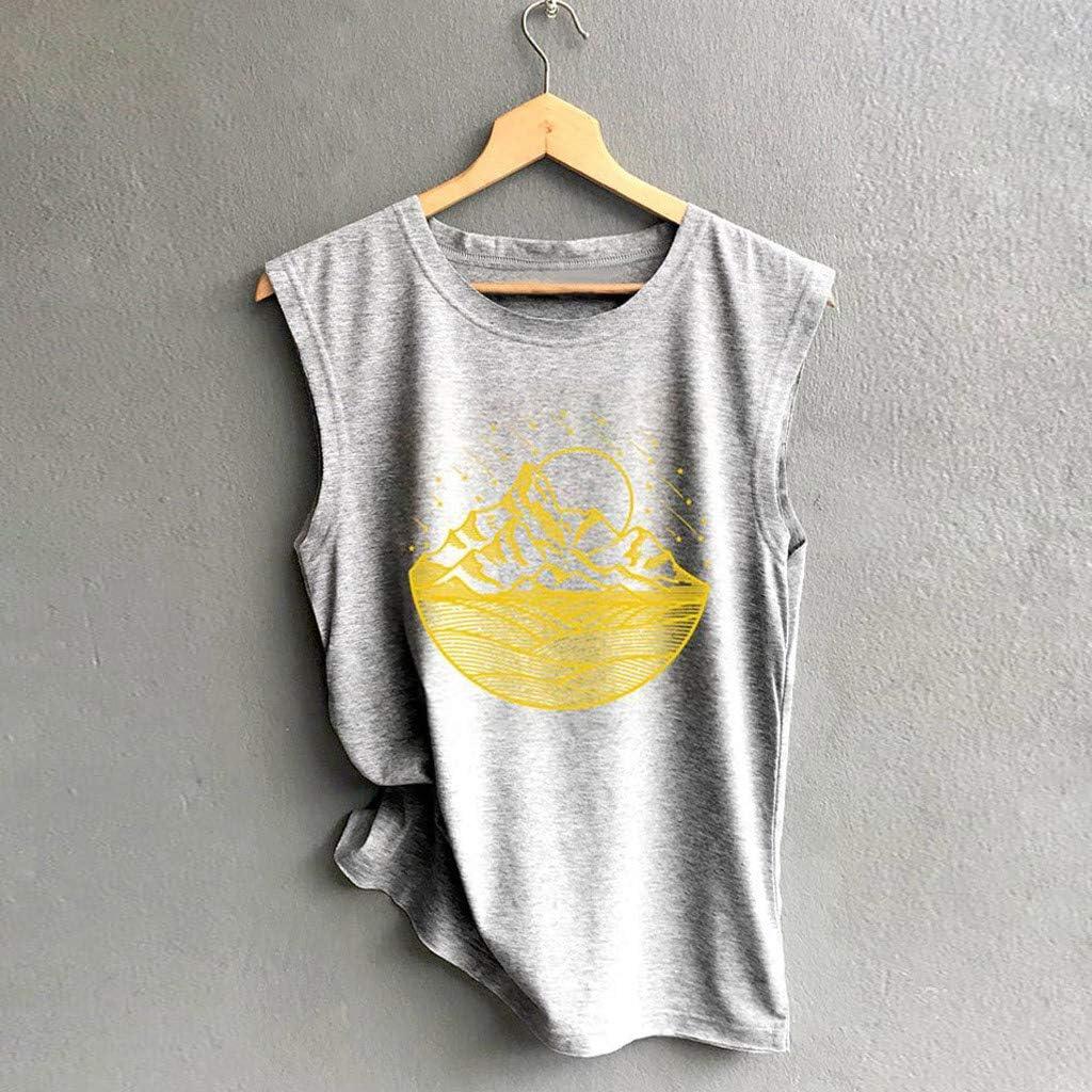 Womens Crop Top Fashion Printed Shirts Sleeveless Workout Blouse Loose Tank Soft Tee Vedolay Women Tank Tops
