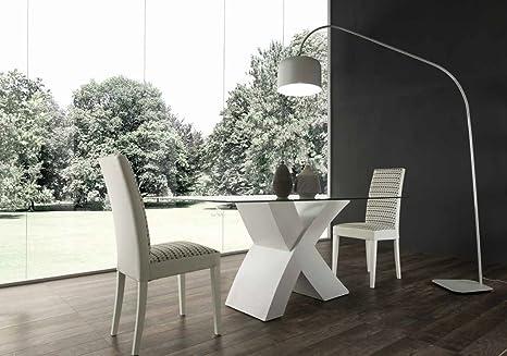 Legno Bianco Frassinato : Mocada raul tavolo fisso design cristallo e basamento legno