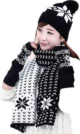 Winter Warm Girls Wool Hat Scarf Gloves Set Knitted Hats Scarf Mitten Set  Black 4fecafda886