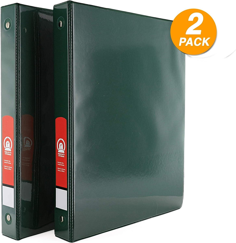 Emraw Super Great Carpeta de 3 anillas con 2 bolsillos – disponible en verde – ideal para la escuela, el hogar, la oficina (2 unidades): Amazon.es: Oficina y papelería