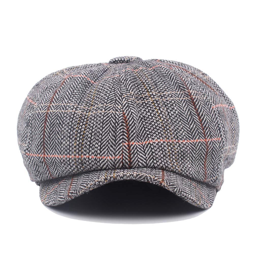 Amazon.com: Lywey Men Plaid Casual Cap Flat Beret Octagonal Cap Outdoor Beret Caps: Clothing
