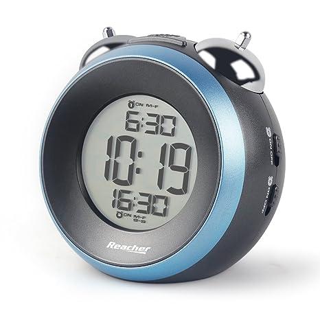 Reacher Digital Doble Campanas Reloj Despertador con Pantalla LCD, Dual Subir Alarma, Snooze,