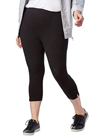 764ea5ea946 Woman Within Women s Plus Size Stretch Cotton Capri Legging - Black
