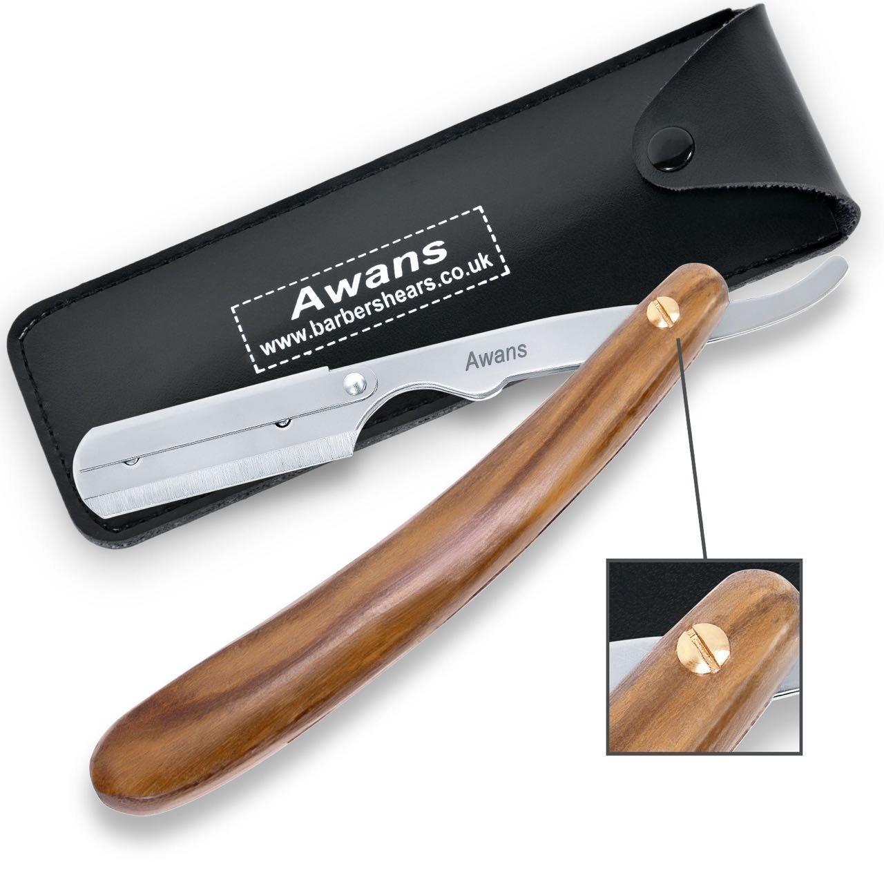 Awans Straight Shaving Razor Handle Cut Throat Barber Shaving Razor Plain Wooden Design