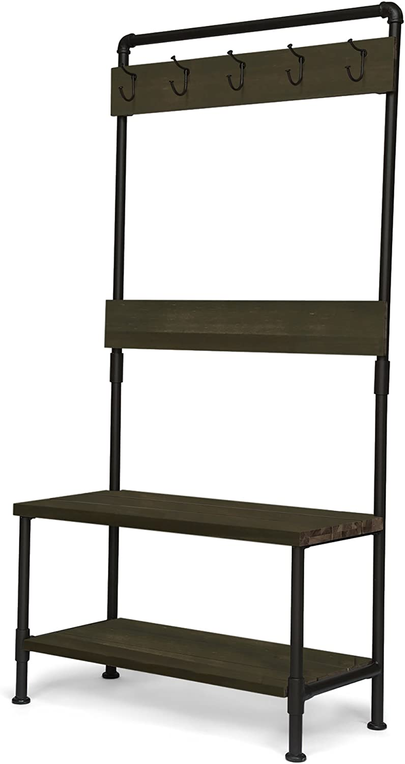 Carlos Outdoor Industrial Acacia and Iron Bench with Shelf and Coat Hooks, Gray Finish