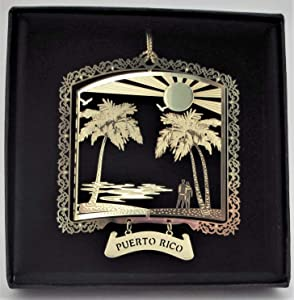 I Love My State Puerto Rico Brass Ornament Black Leatherette Gift Box