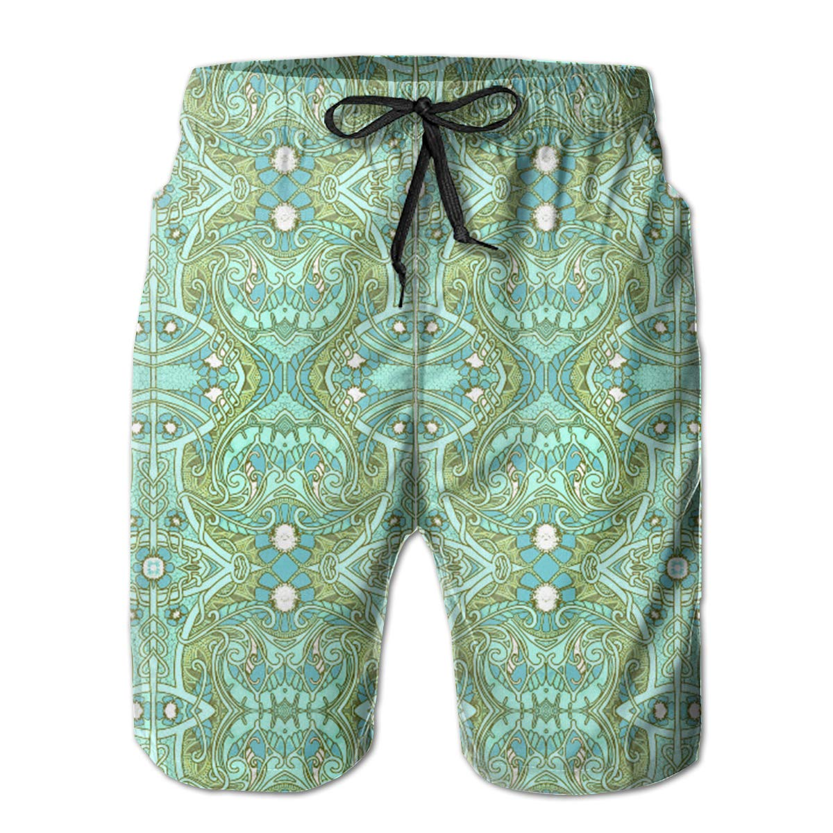 FASUWAVE Mens Swim Trunks Psychedelic Heart and Victorian Quick Dry Beach Board Shorts with Mesh Lining