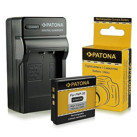 Cargador + Batería Fuji NP-50 | Kodak Klic-7004 | Pentax D-Li68 / D-Li122 para Fujifilm FinePix F70EXR / F80EXR / F200EXR / F300EXR / F500EXR / ...