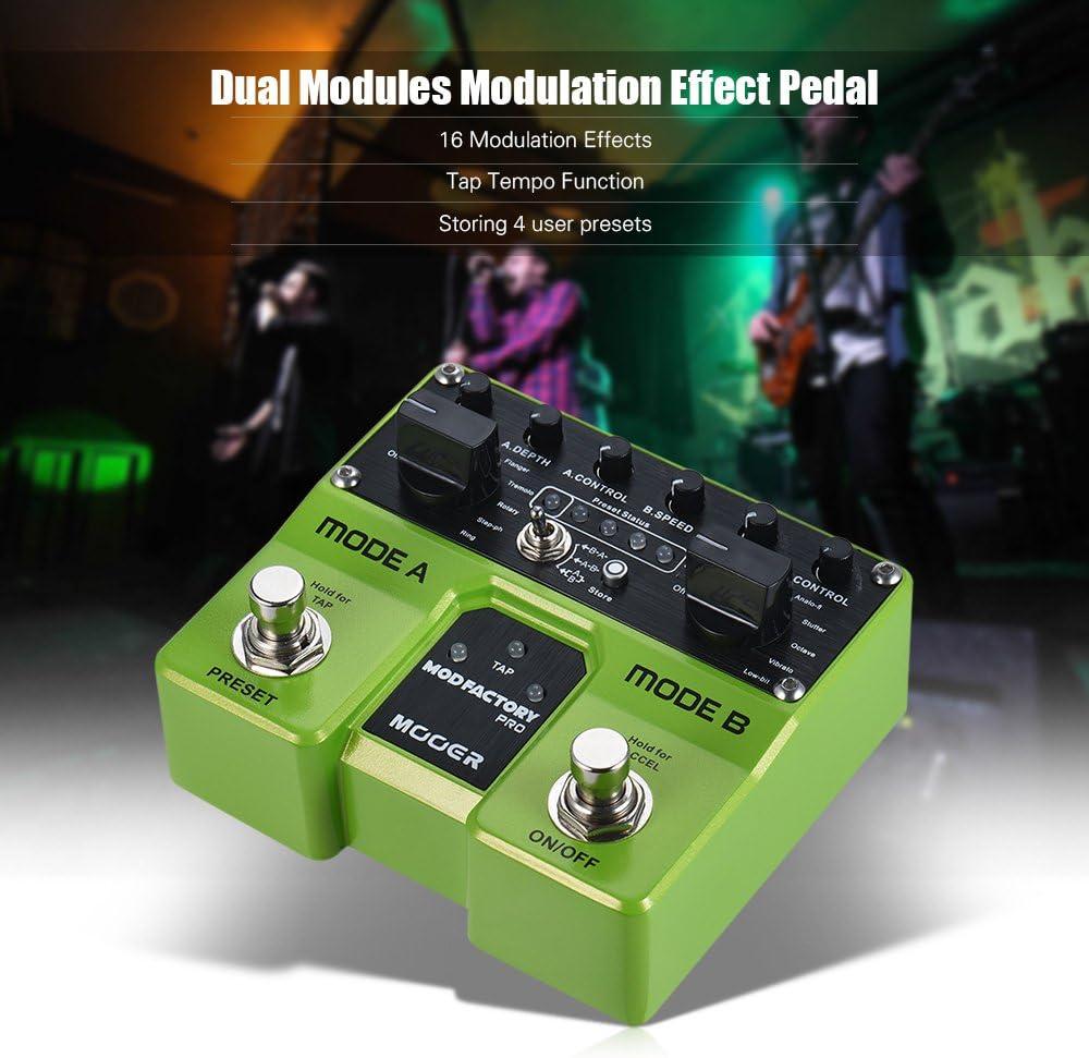 Fesjoy MODFACTORY Módulos Pro Dual Modulation Pedal de efecto de guitarra 16 Efectos de modulación Tap Tempo Function con conmutadores de pie duales