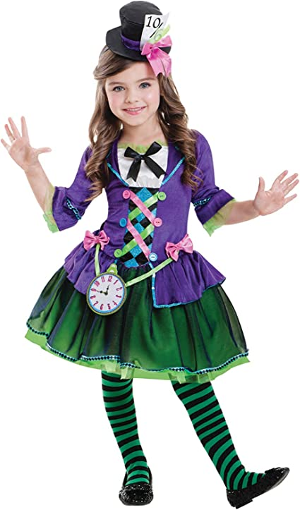 5-6 years) - Girls Bad Hatter Costume - Kids World Book Day Mad ...