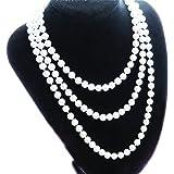 VORCOOL Collier Longue Perle Forme Chaîne de Chandail (Blanc)