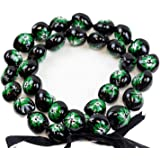 Barbra Collection Hawaiian Style Kukui Nut Lei Hibiscus Hand Painted Green Flower 32 Inches