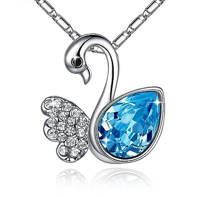 quot Allous Real quot  Pendentif plaqué or blanc avec des cristaux  aigue-marine bleu 0e7fa4c21f6e