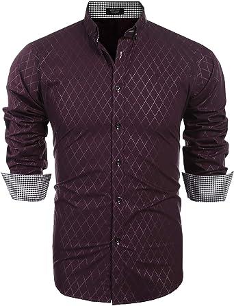 Coofandy - Camisa estampada para hombre de manga larga, estilo casual, cuello con botones de algodón rojo intenso M: Amazon.es: Ropa y accesorios