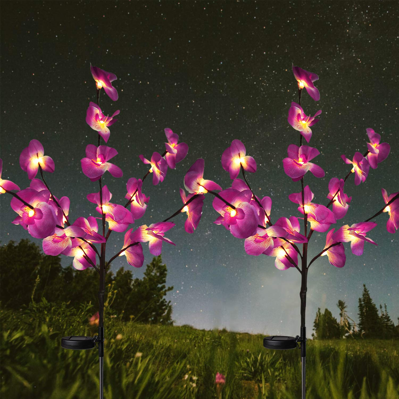HeyMate Solar Lights Outdoor-Solar Garden Lights 2 Pack Solar Orchid Flower Lights for Garden,Patio,Backyard by HeyMate