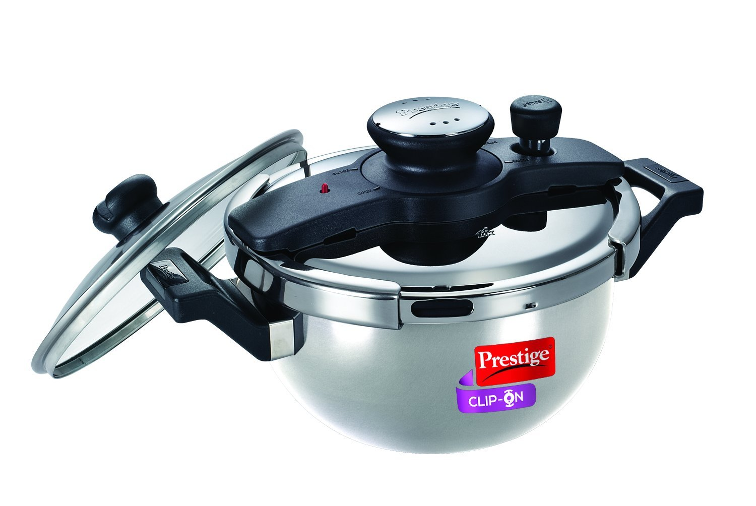 Prestige Clip On Stainless Steel Kadai Pressure Cooker with Glass Lid, 3.5-Liter