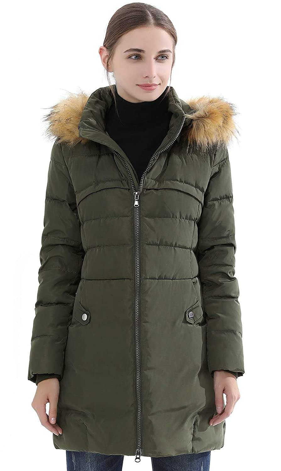 264e1aacb Obosoyo Women's Hooded Thickened Long Down Jacket Winter Down Parka Puffer  Jacket