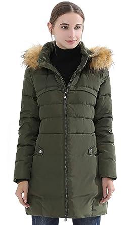 12c6b568a Obosoyo Women's Hooded Thickened Long Down Jacket Winter Down Parka Puffer  Jacket ArmyGreen S