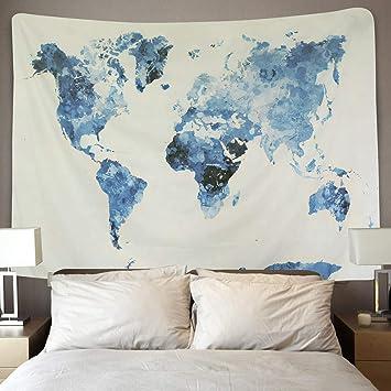 Lomohoo Carte Du Monde Tapisserie Tenture Murales Mandala Bohemian Blanc Bleu Tapisserie Decoration Murale Salon Carte Du Monde Bleu M130cm150cm