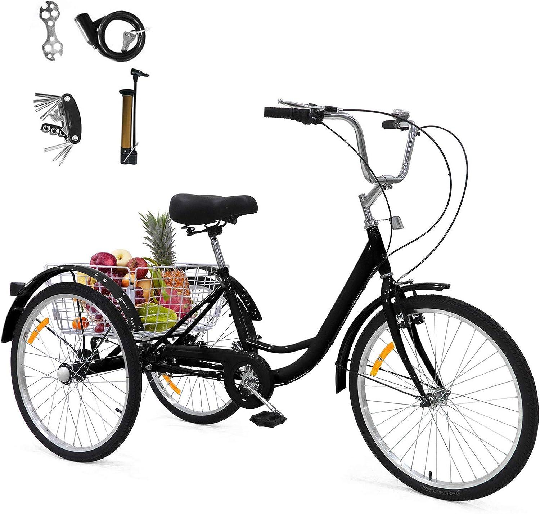 GNEGNIS Bicicleta de 24 Pulgadas Triciclo para Adultos, Bicicleta de 3 Ruedas con Asiento de Respaldo de Cesta Grande, Adecuado para Mujeres y Hombres