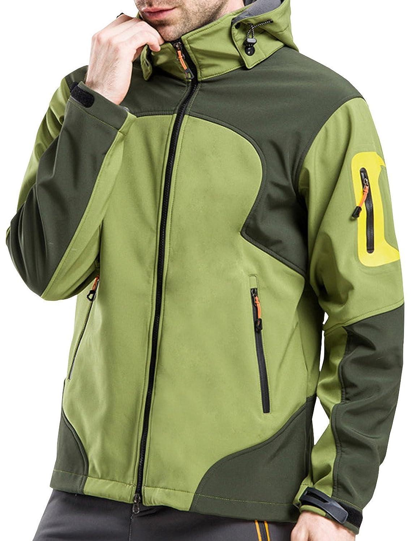 Glestore Herren Windbreaker Wasserdicht Jacken Outdoor Sports Klettern Skifahren Radfahren Jacke mit abnehmbarer Kapuze Softshell S-XL