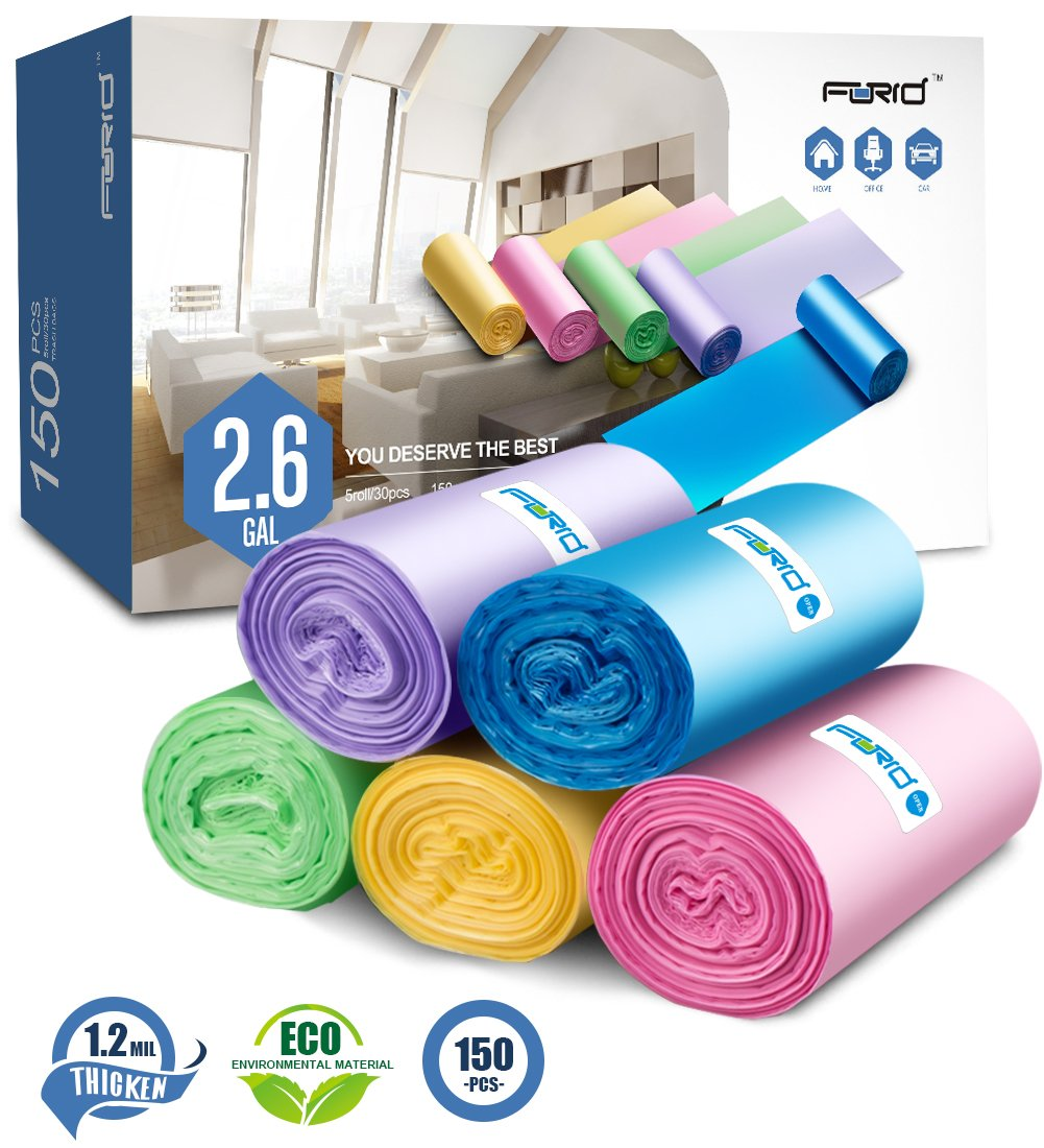 Small Trash Bags,2.6 Gallon Garbage Bags FORID Bathroom Trash can Liners for Bedroom Home Kitchen 150 Counts 5 Color by FORID