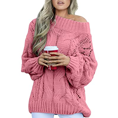 Acelitt Women's Casual Winter Long Sleeve Knitted Sweater Pullover Jumper: Clothing