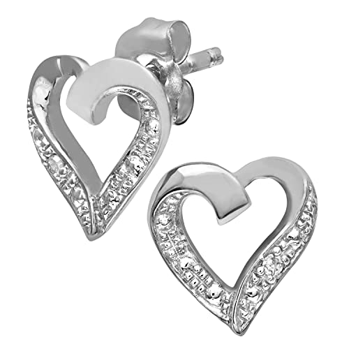 5b55c003a Naava Women's Diamond Heart 9 ct White Gold Earrings