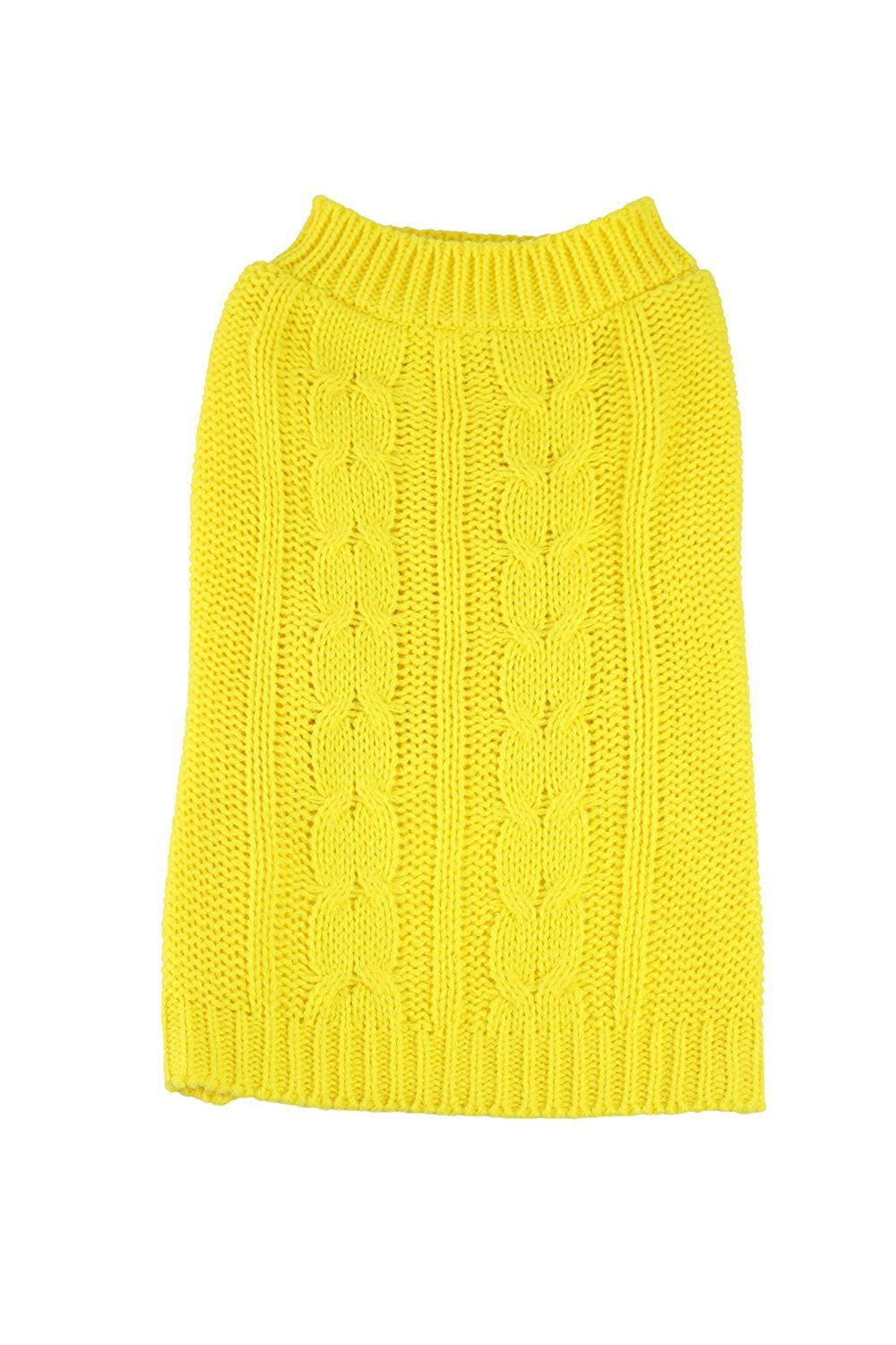 Cable Knit Dog Sweater by Midlee (X-Large, Yellow)
