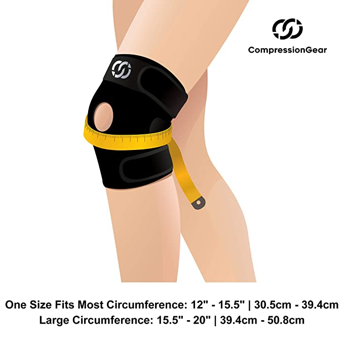 8c0f2d2e9b Amazon.com: CompressionGear Patella Stabilizing Knee Brace with Side  Stabilizers for Arthritis, Best Joint Pain Relief, Torn Meniscus Support,  ...