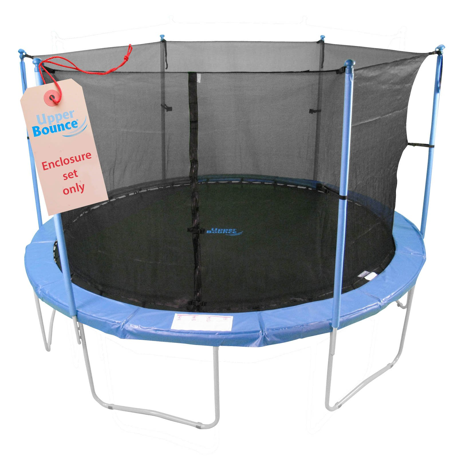 Trampoline Enclosure Set, to fit 8 FT. Round Frames, for 3 or 6 W-Shaped Legs -Set Includes: Net, Poles & Hardware Only